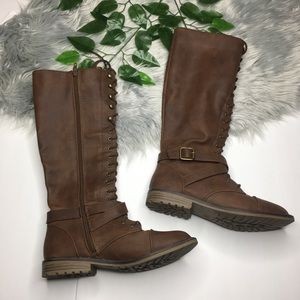 Tall Tie Up Faux Leather Brown Boots sz 7.5